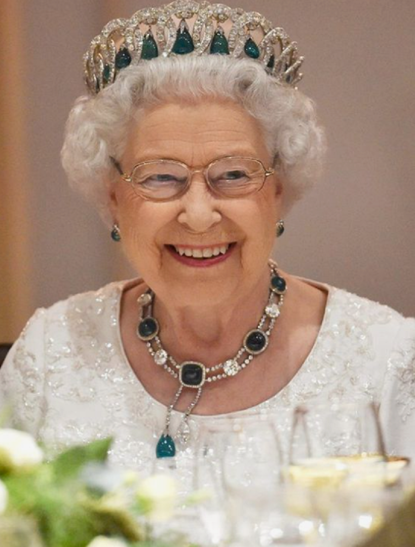 Royal bling Queen Elizabeth II's Emerald Green Stone with White Diamond Tiara and Matching Necklace and Earrings