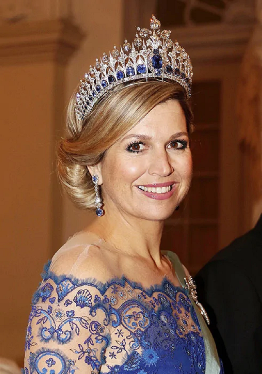 Royal bling Queen Maxima Wearing Her Glittering Tiara with Sapphire Stones and Clear Diamonds