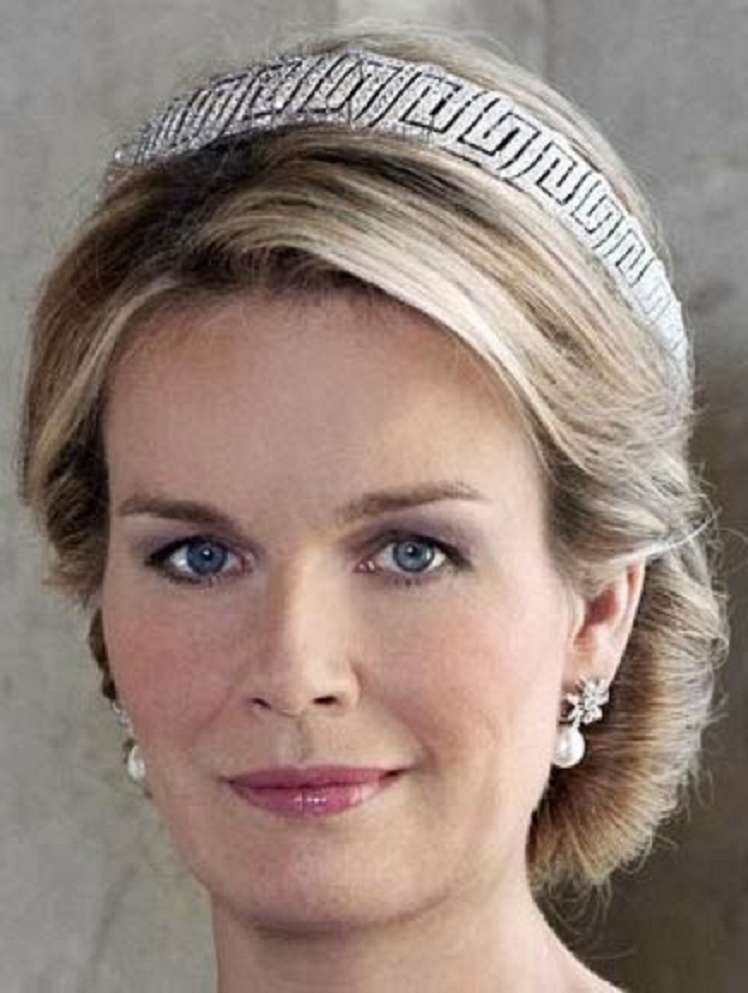 Royal bling Queen Astrid of Belgium's Nine Provinces Diamond Tiara and Matching Pearl and Diamond Earrings
