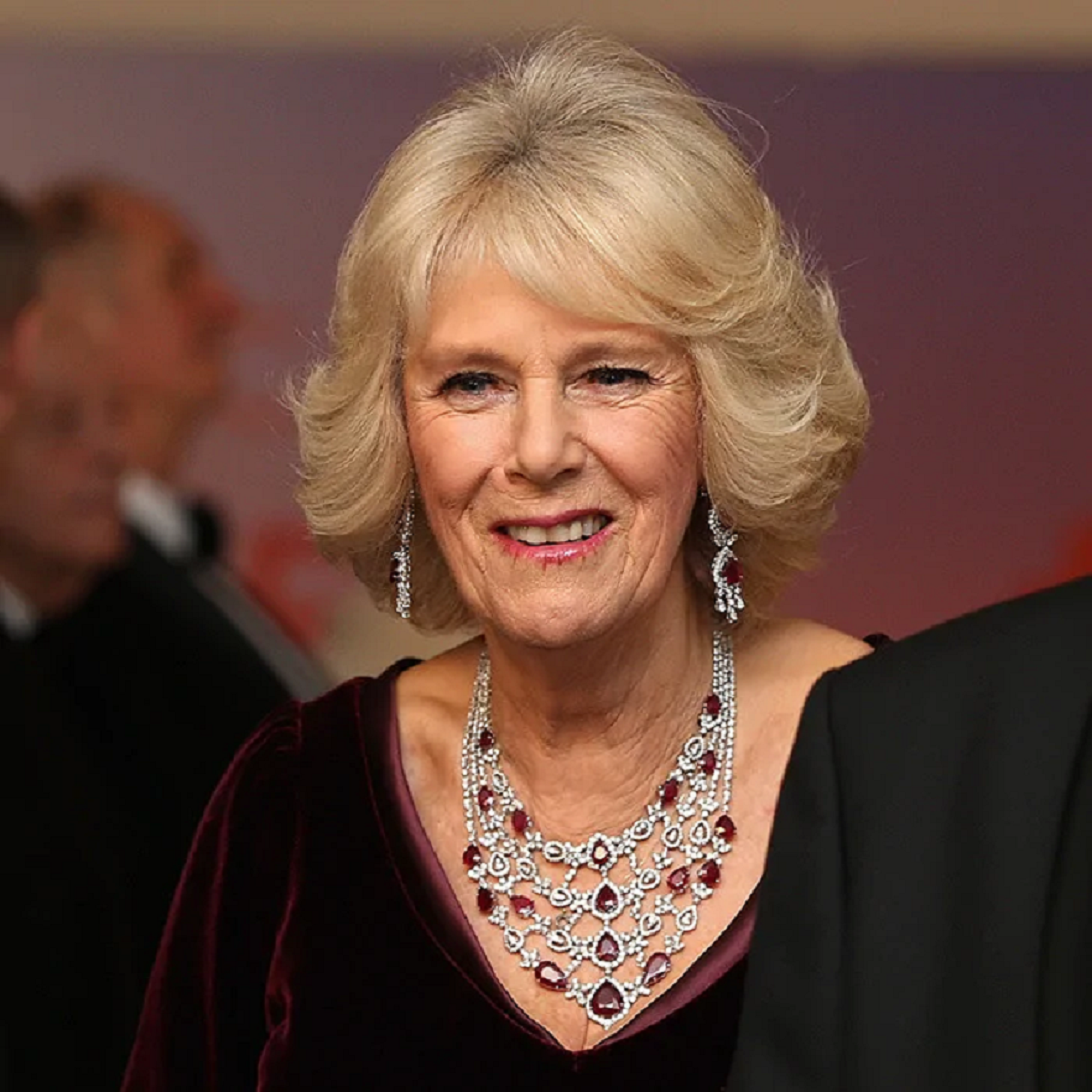 Royal bling Duchess Camilla Wearing Her Diamond and Ruby Necklace and Earrings Set