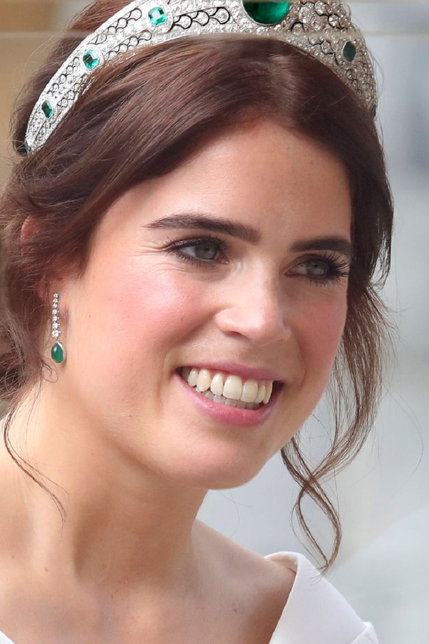 Royal bling Princess Eugenie Wearing The Diamond and Emerald Earrings and Glittering Tiara