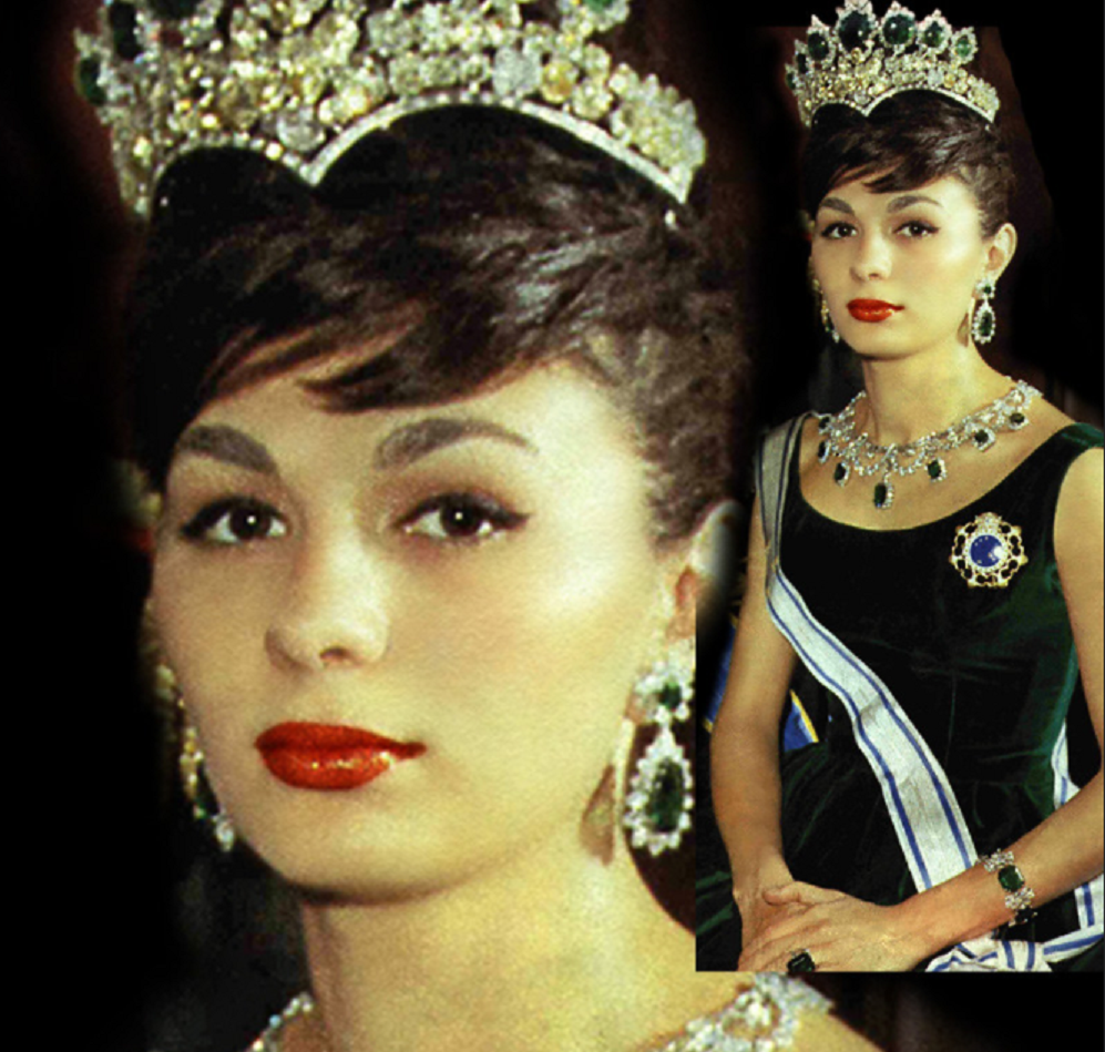 Royal bling Queen Farah Diba Wearing Her Elegant and Glittering Crown with Diamonds and Emerald Stones with Matching Necklace and Drop Earrings