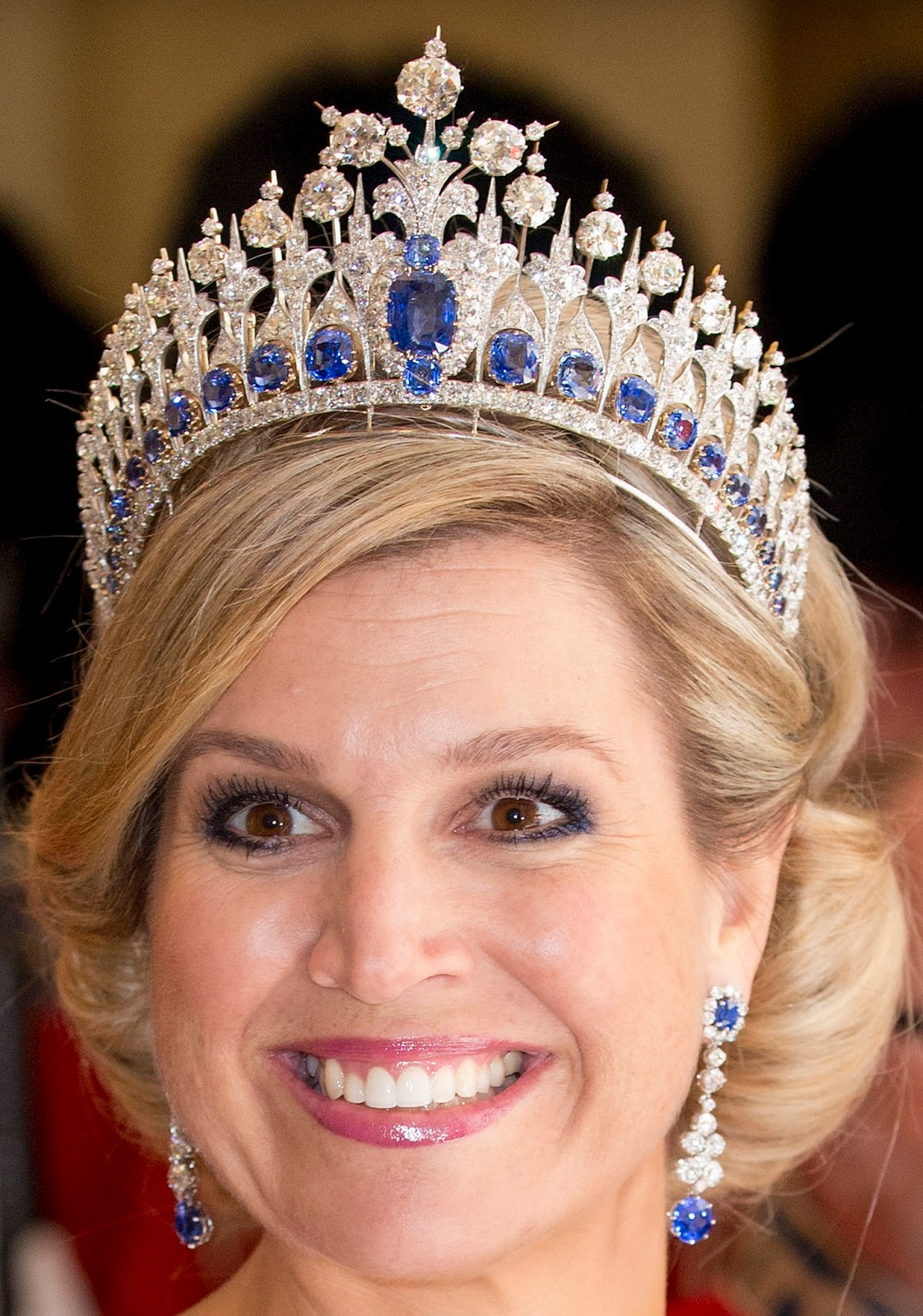 Royal bling Queen Maxima of The Netherlands Wearing Her Sapphire Parure Tiara with Matching Earrings
