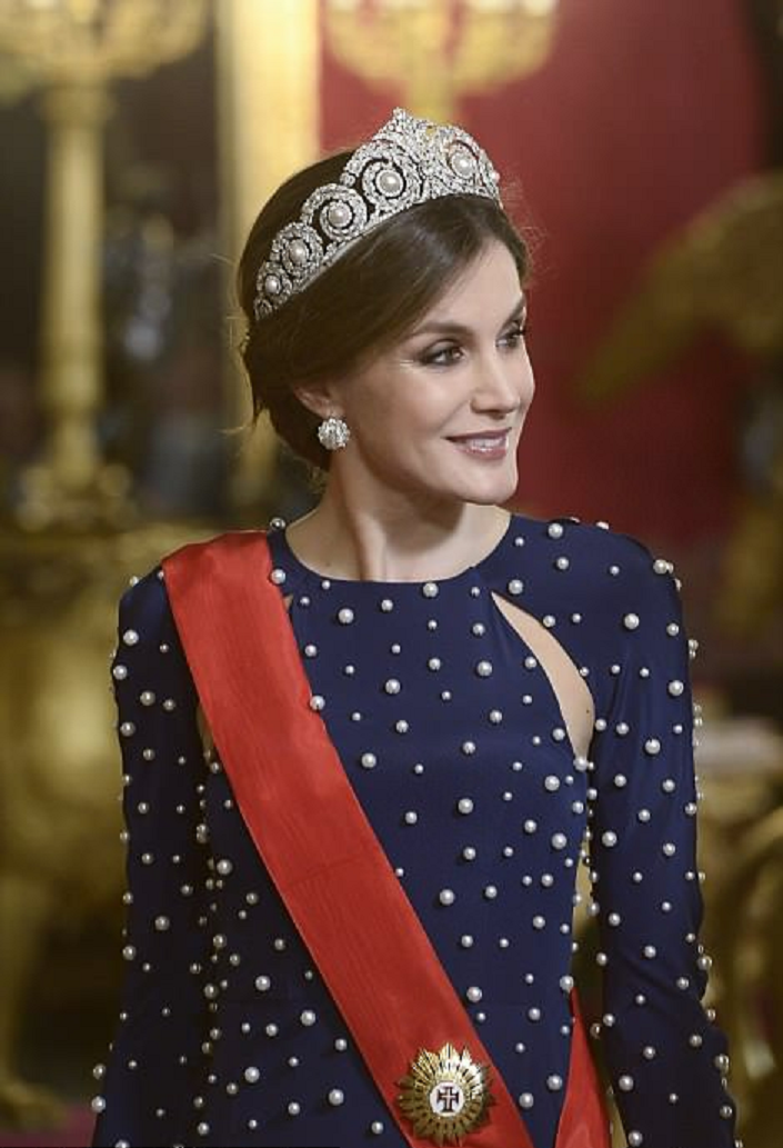 Royal bling Queen Letizia of Spain Wearing Her Heirloom Diamond Tiara with Matching Glittering Studs
