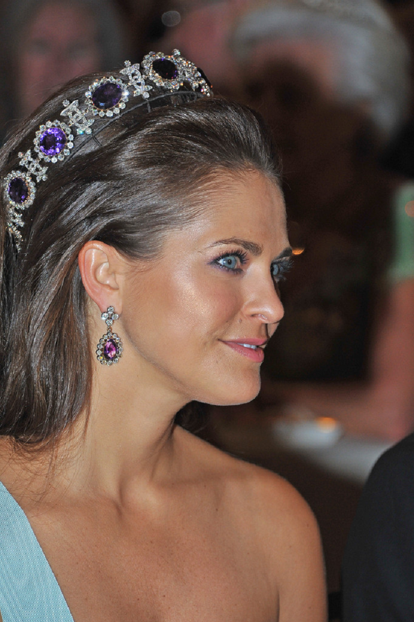Royal bling Princess Madeleine of Sweden Wearing Her Glittering Diamonds with Sapphire Gems and Matching Drop Earrings