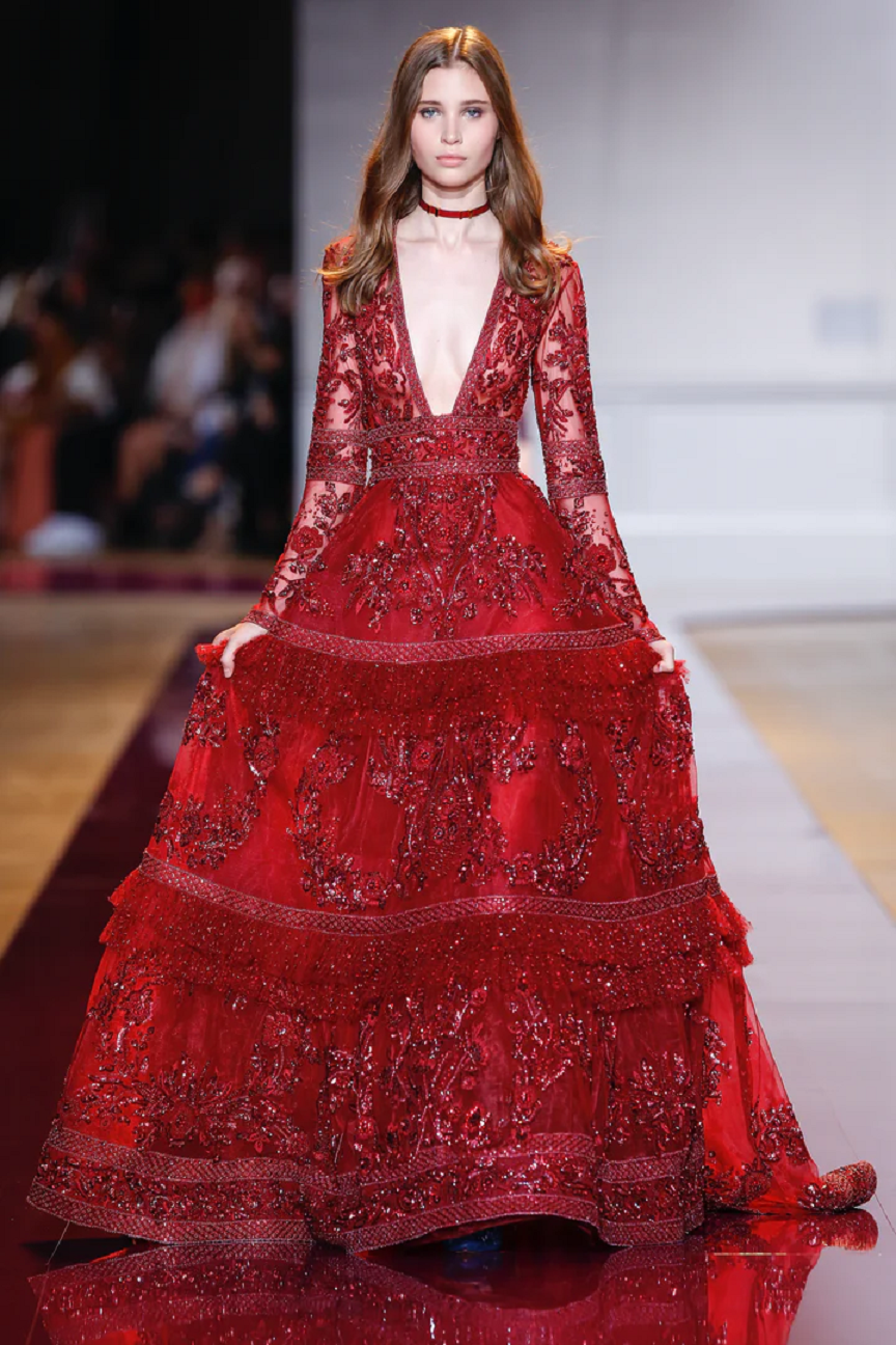 Best bling dresses online 2021 Red Sequin Couture Sequin Gown with Deep V-Neck and Long Sleeves