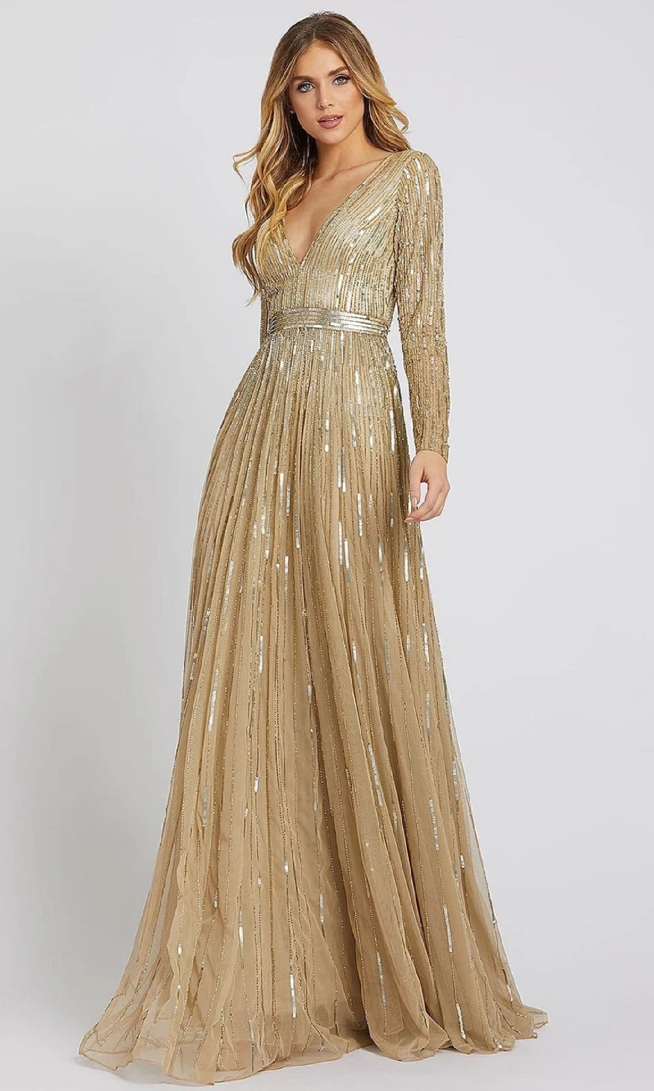 Best bling dresses online 2021 Glittering Gold Sequin with Long Sleeves and Deep V-Neck A-Line Gown