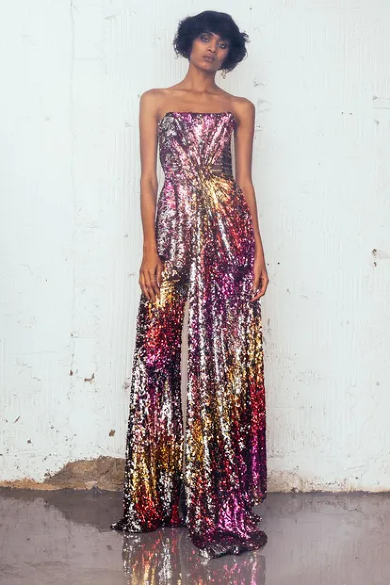 Best bling dresses online 2021 All Over Sequined Off The Shoulder Sleeveless Jumpsuit