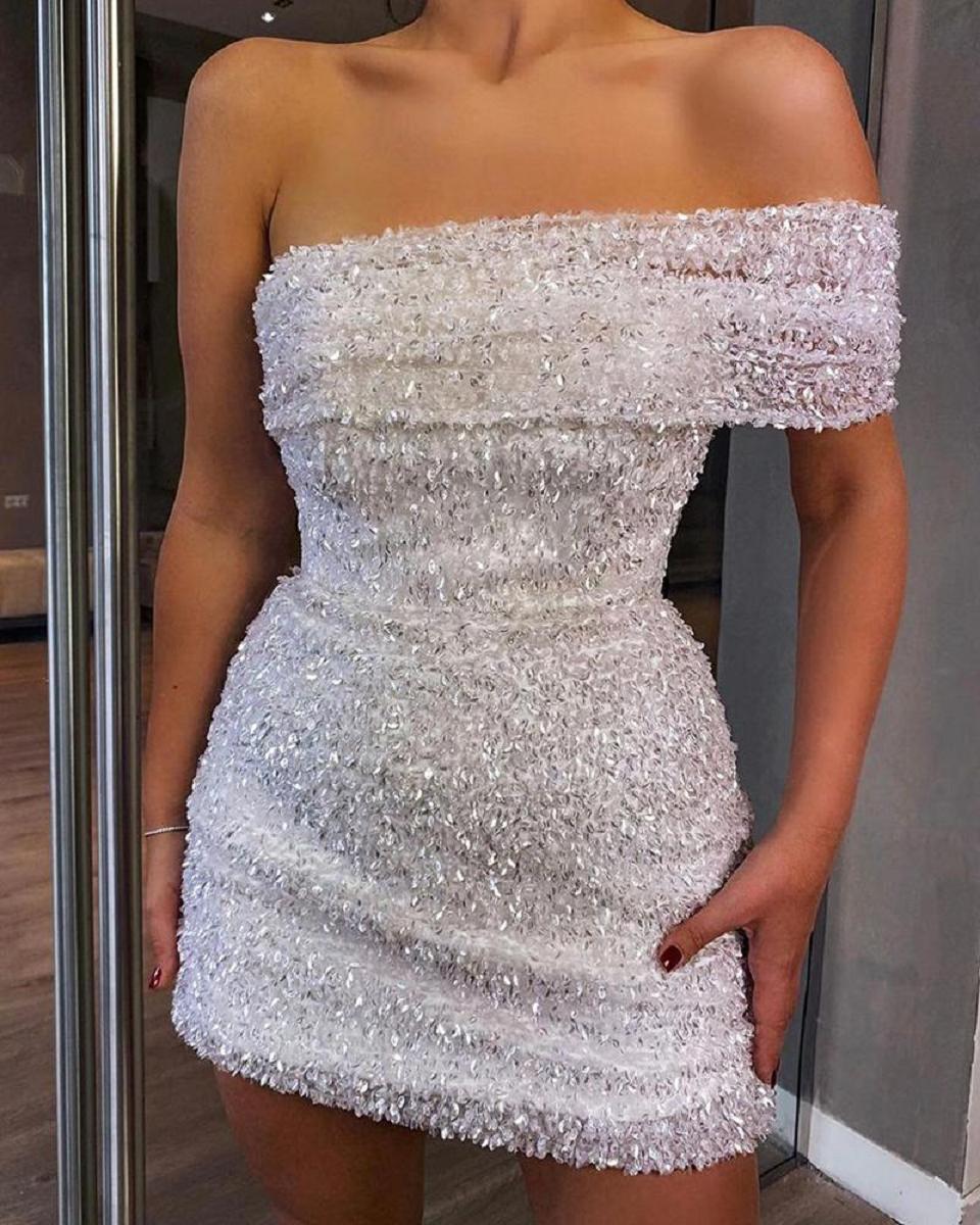 Off One Shoulder Sequins Bodycon Mini Dress
