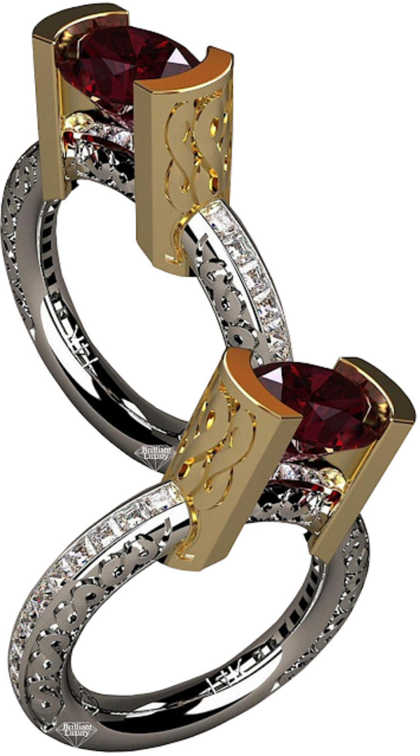 Best massive bling rings 2021 Infinity Ruby with Clear Glittering Diamond Ring