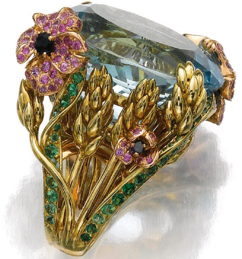 Best massive bling rings 2021 Circular-Cut Blue Diamond with Pink Diamond Flowers and Wheat Sheaves Ring
