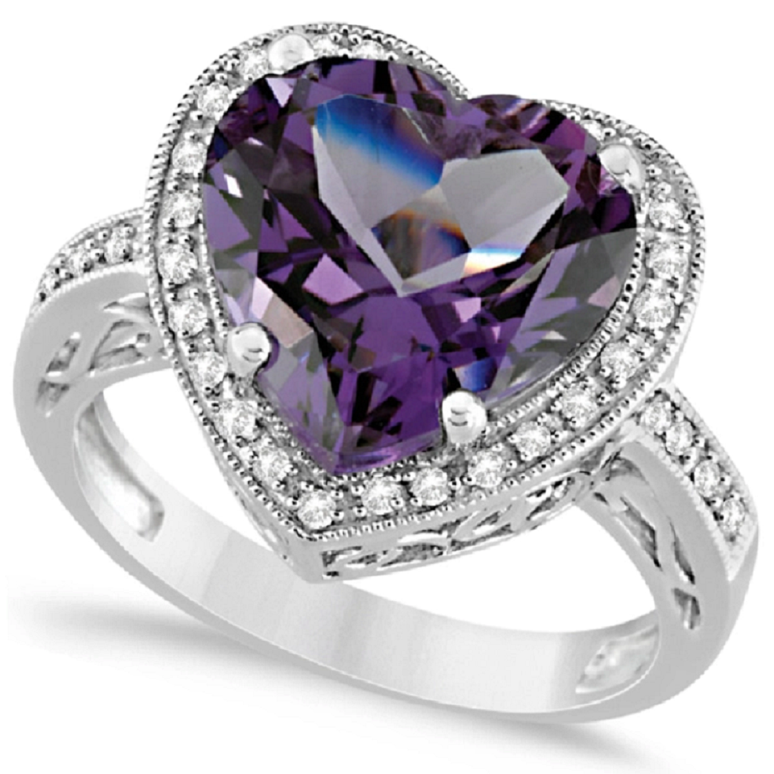 Best massive bling rings 2021 Glittering Heart Shaped Amethyst Diamond with Clear Diamond Halo Ring