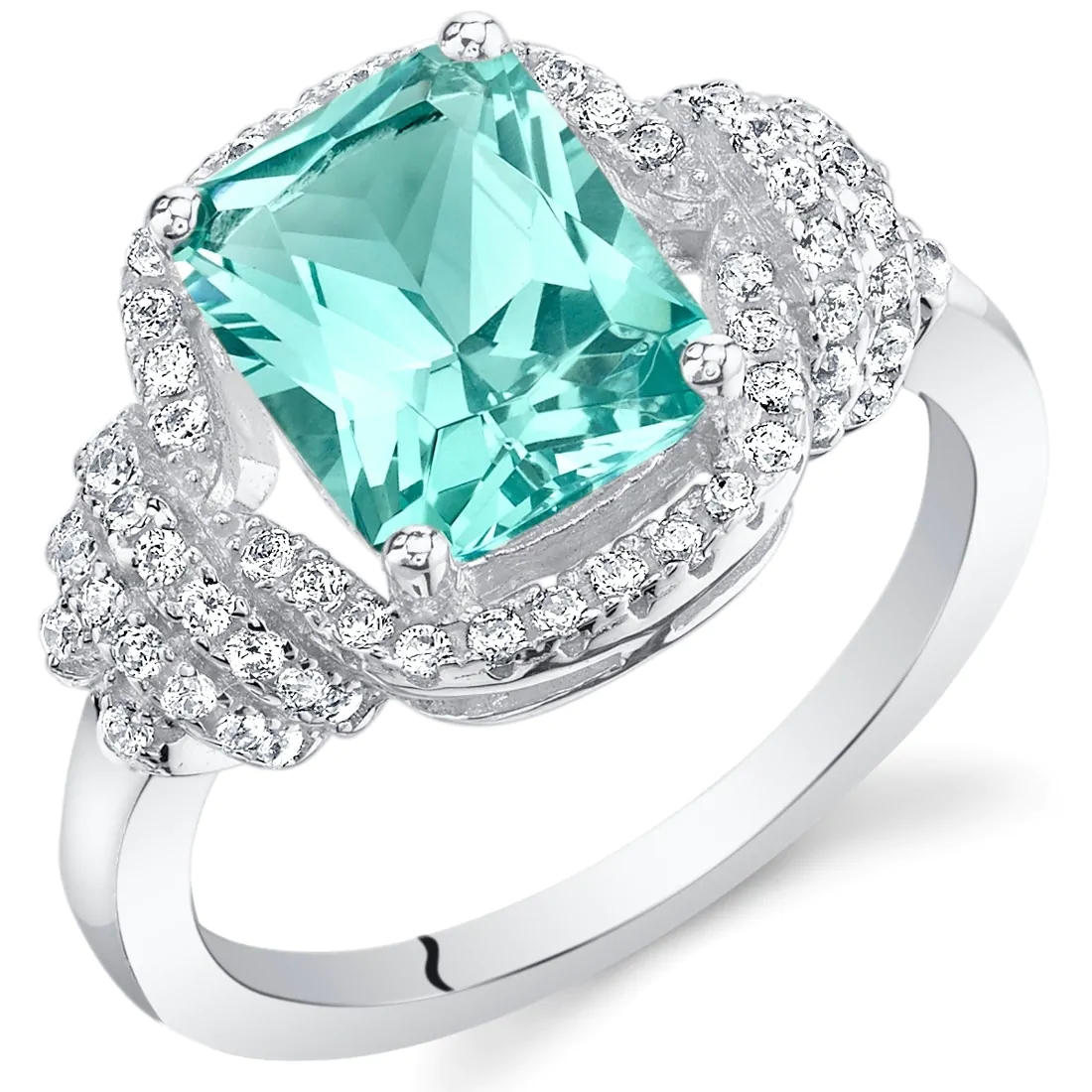 Best massive bling rings 2021 Turquoise Tourmaline Stone with Glittering Diamonds On Sterling Silver Ring