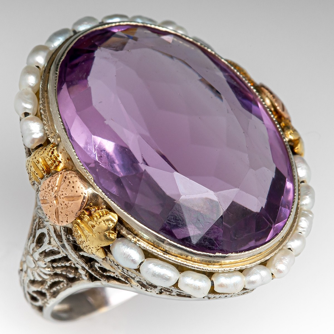 Best massive bling rings 2021 Glittering Vintage Amethyst Diamond Ring with Pearls in White Gold