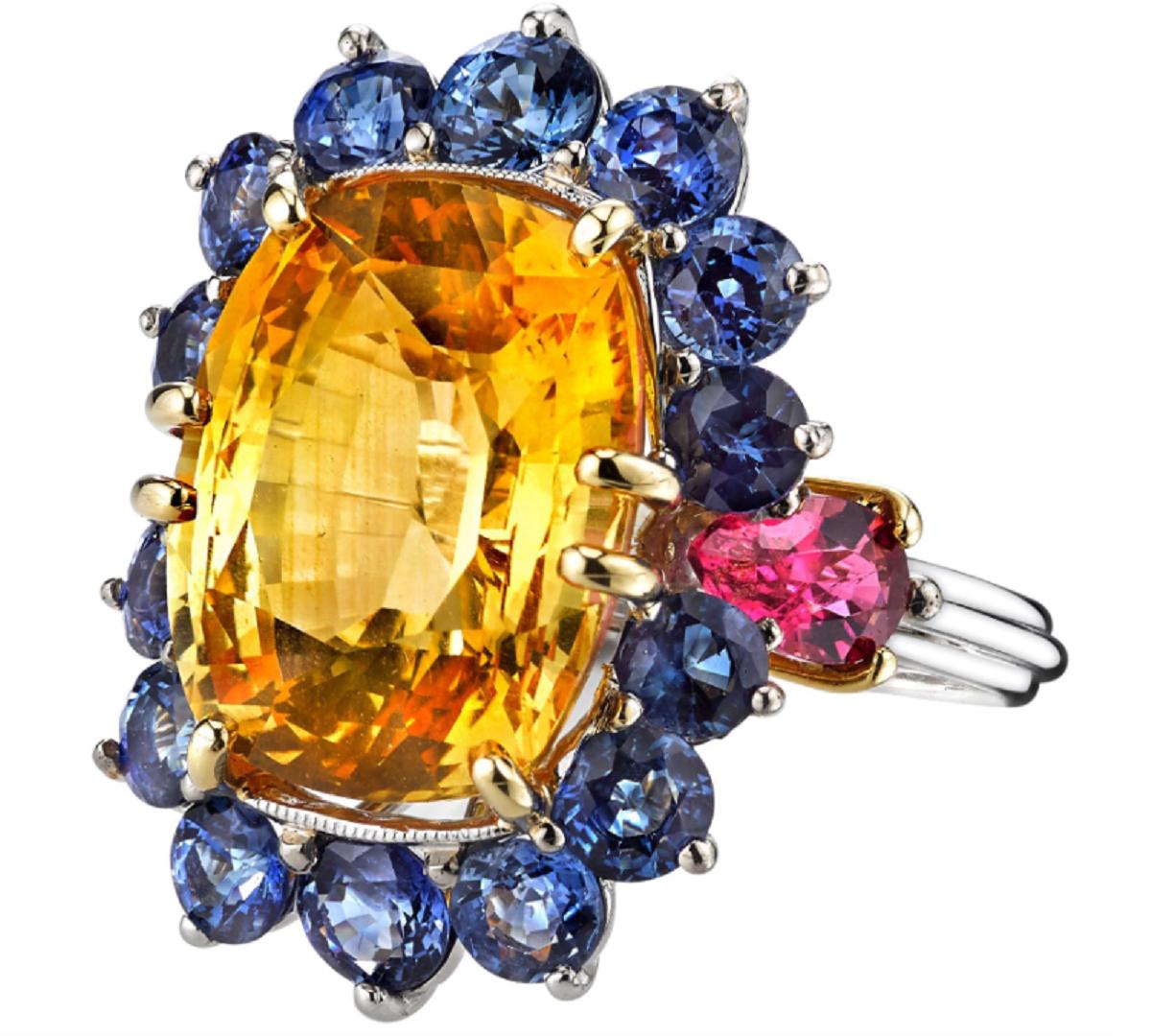 Best massive bling rings 2021 Elegant Yellow Sapphire, Blue Sapphire and Pink Tourmaline Platinum Cluster Diamond Ring