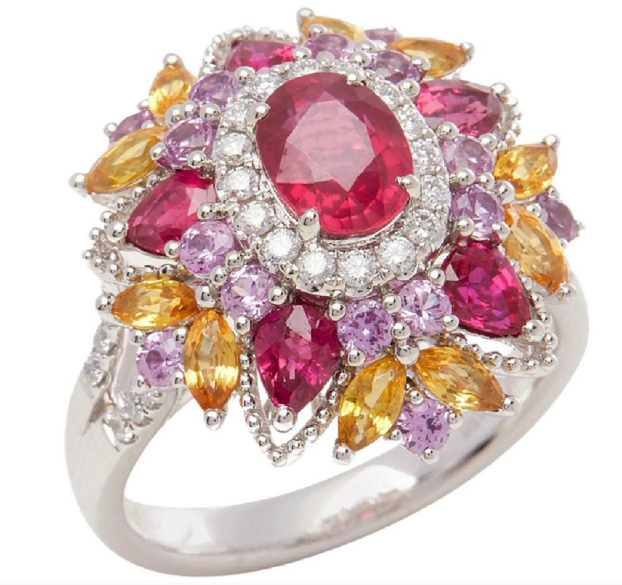 Best massive bling rings 2021 Glittering Platinum with Ruby, Diamond, Pink and Yellow Sapphire Cluster Ring