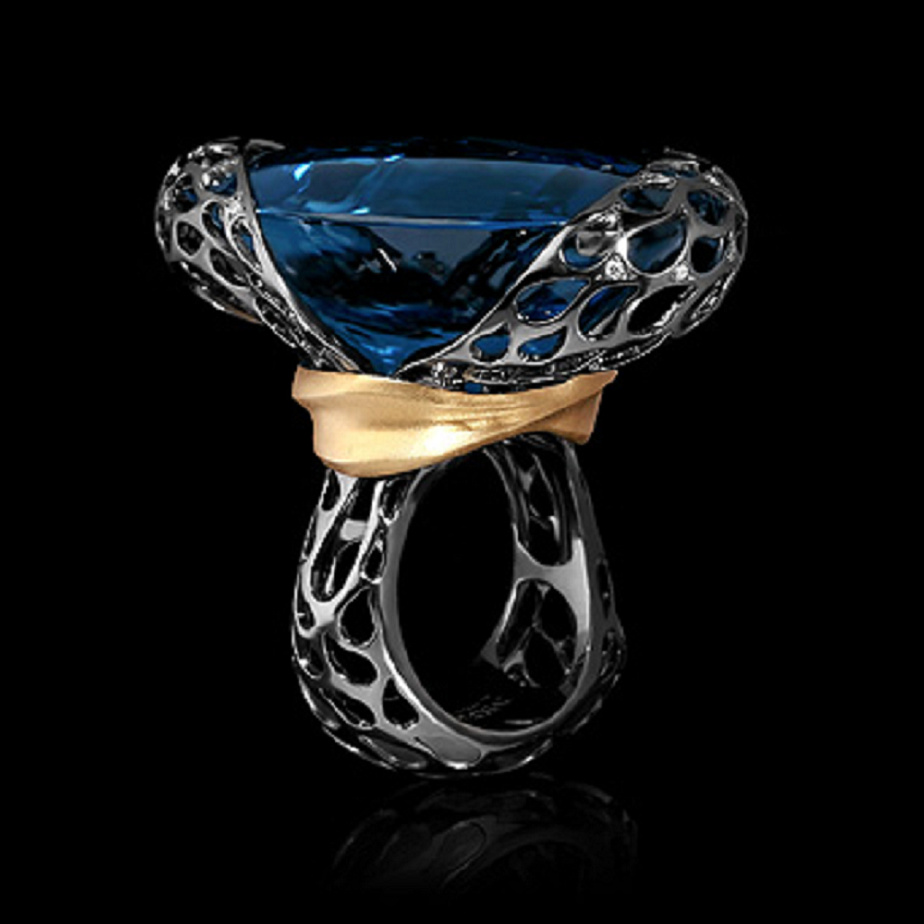 Best massive bling rings 2021 Glittering London Blue Topaz Diamond Cut with Yellow and Black Gold Ring