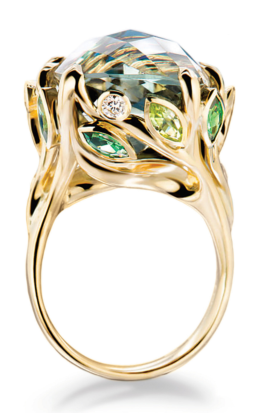Best massive bling rings 2021 Glittering Ring with Green Diamond with Tangled, Jungle-Like Effect with Green and Clear Diamonds