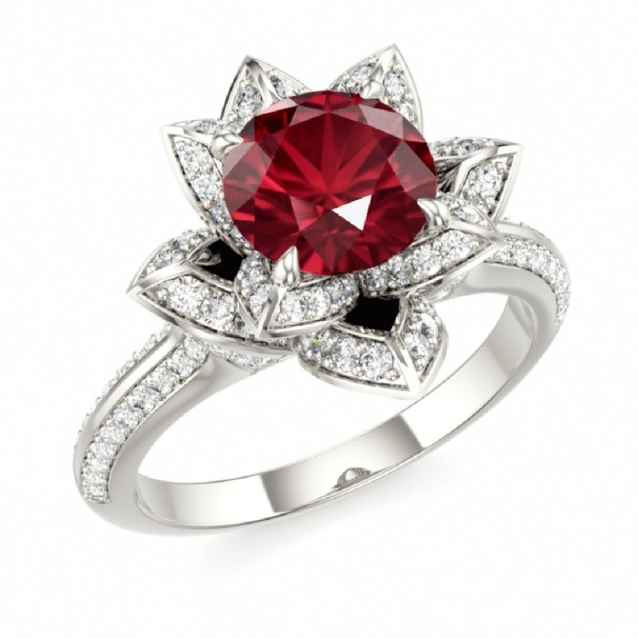 Best massive bling rings 2021 Red Ruby Stone with Glittering Diamonds On Silver White Gold Ring