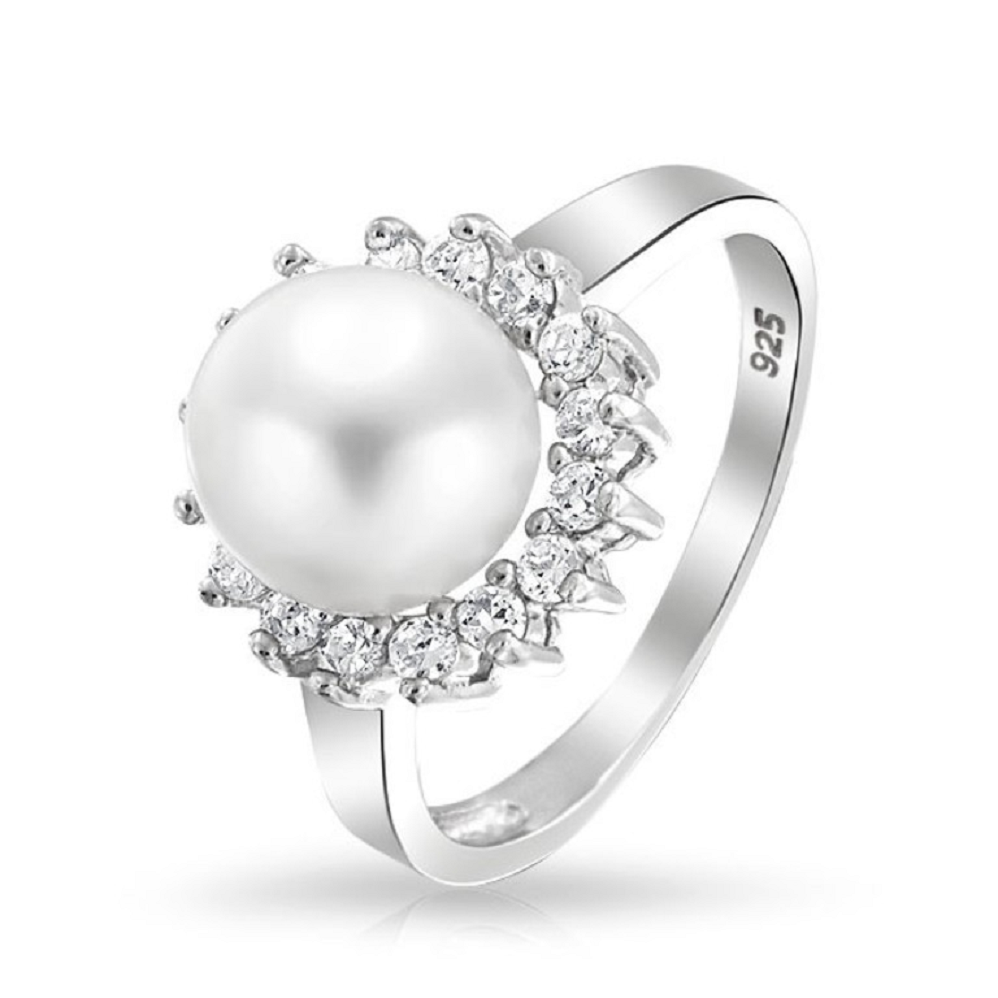 """Best massive bling rings 2021 Pearl """"The Birthstone Of June"""" Ring with Glittering Diamond Halo On White Gold"""