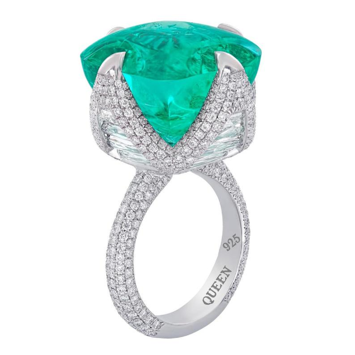 Best massive bling rings 2021 Sparkly Sterling Silver Ring with Luxury Ascher Cut Emerald and Diamonds
