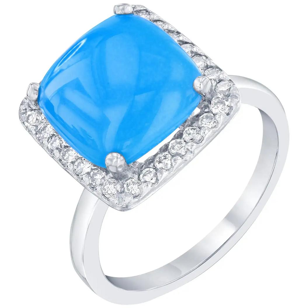 Best massive bling rings 2021 Shining Turquoise Diamond 14 Karat with White Gold Cocktail Ring