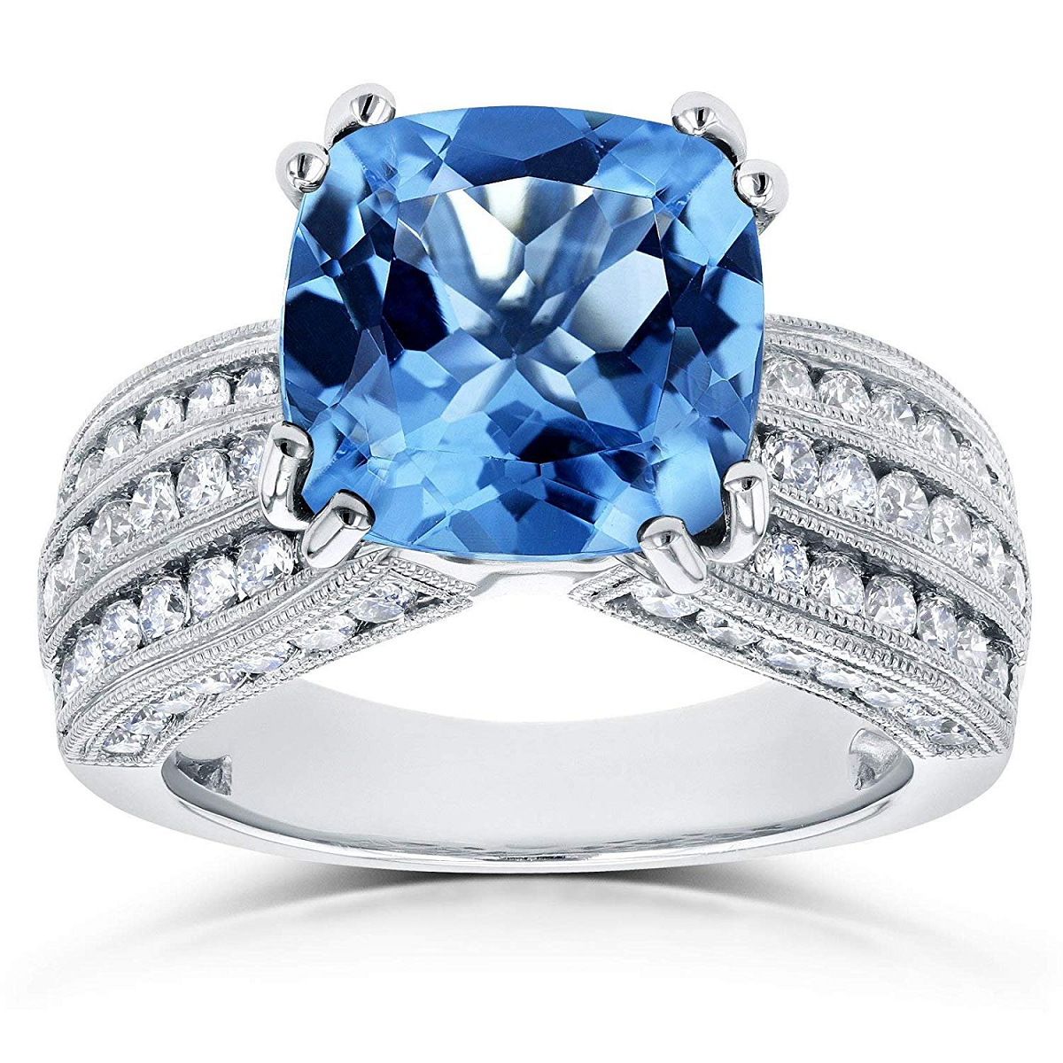 Best massive bling rings 2021 Glittering Cushion Cut Blue Topaz Stone with 3 Row Diamonds on Sterling Silver Ring