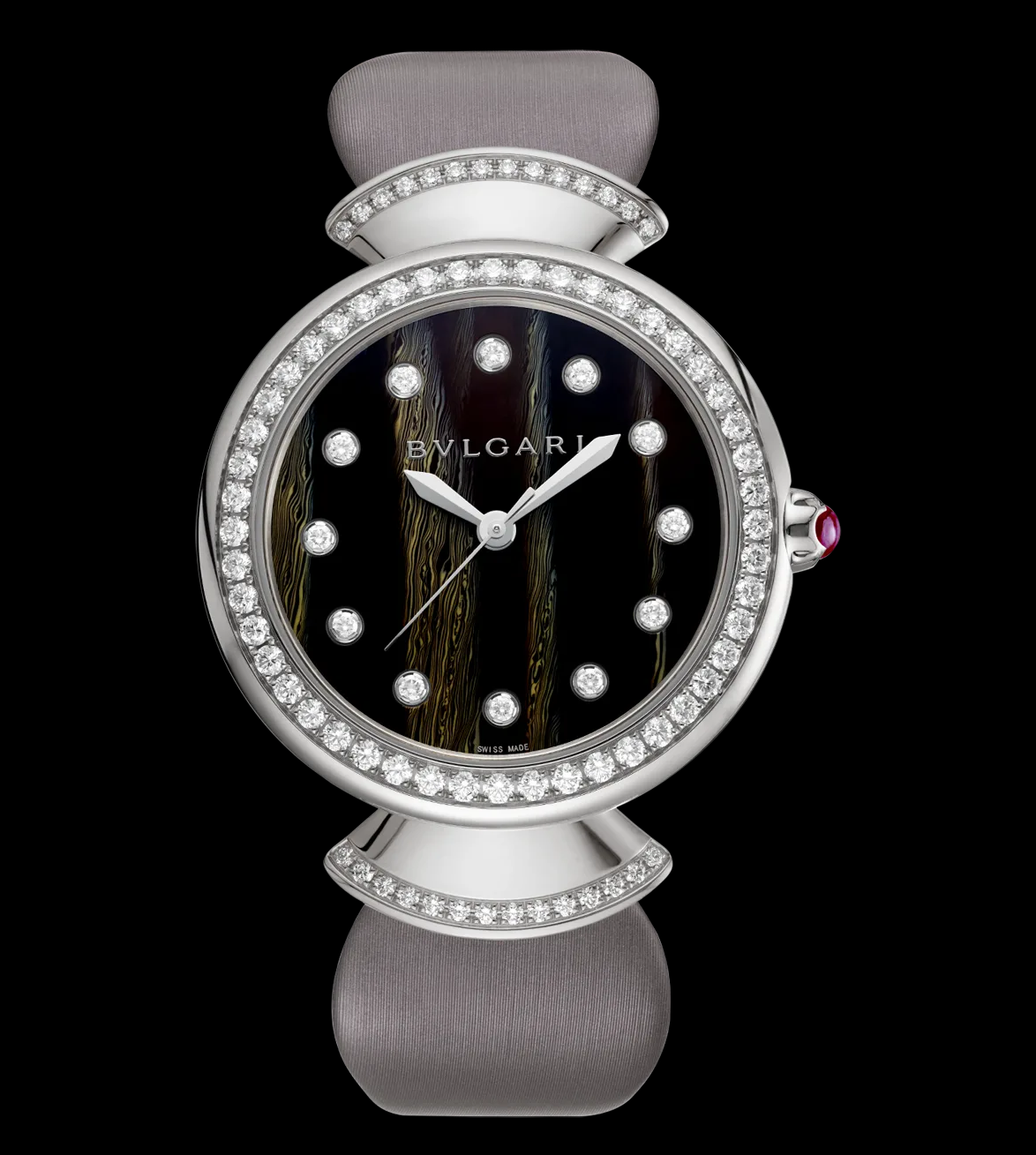 BEST WOMEN'S Bling WATCHES 2021 White Gold Case Set with Brilliant-Cut Diamonds, Black Dial, Diamond Indexes and Grey Satin Bracelet Strap