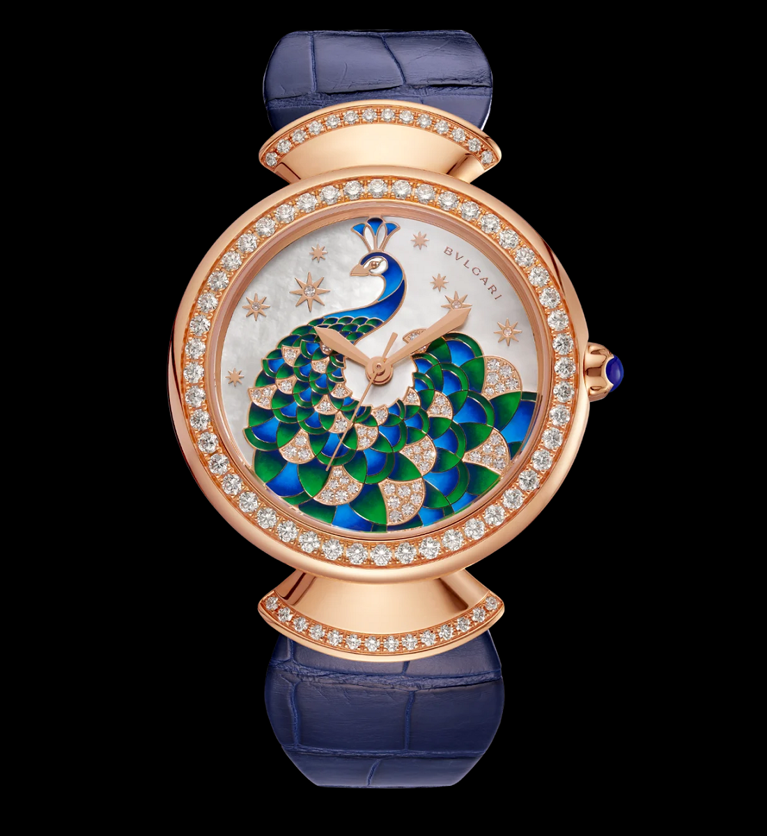 Rose Gold Case Set with Brilliant-Cut Diamonds, Mother-Of-Pearl Dial with Hand-Painted Peacock