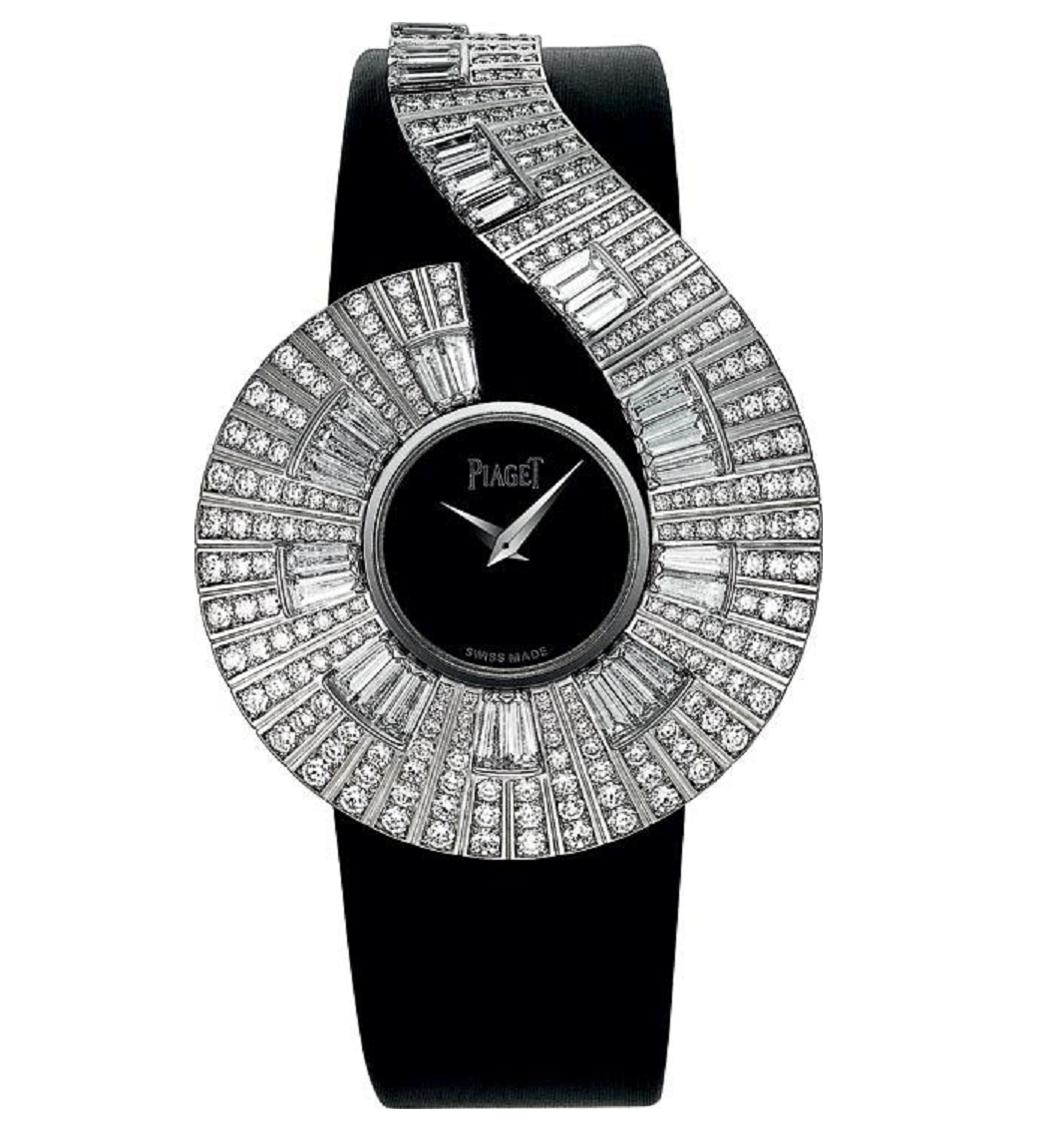 BEST WOMEN'S Bling WATCHES 2021 Piaget Watch with Black Dial with A Hallo Of Rhinestones and Black Leather Strap
