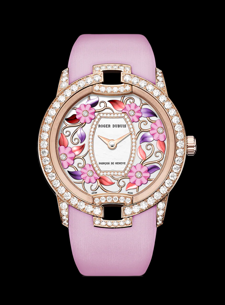 BEST WOMEN'S Bling WATCHES 2021 Roger Dubuis Round Gold Dial with Rhinestones and Flower Inspired Design with Pink Strap