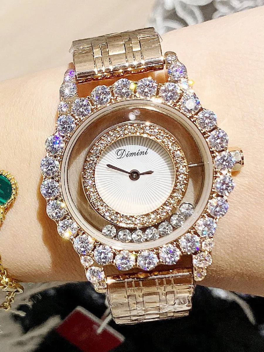 BEST WOMEN'S Bling WATCHES 2021 Hollow Transparent Stainless steel Women's Watch In Gold with Rhinestones