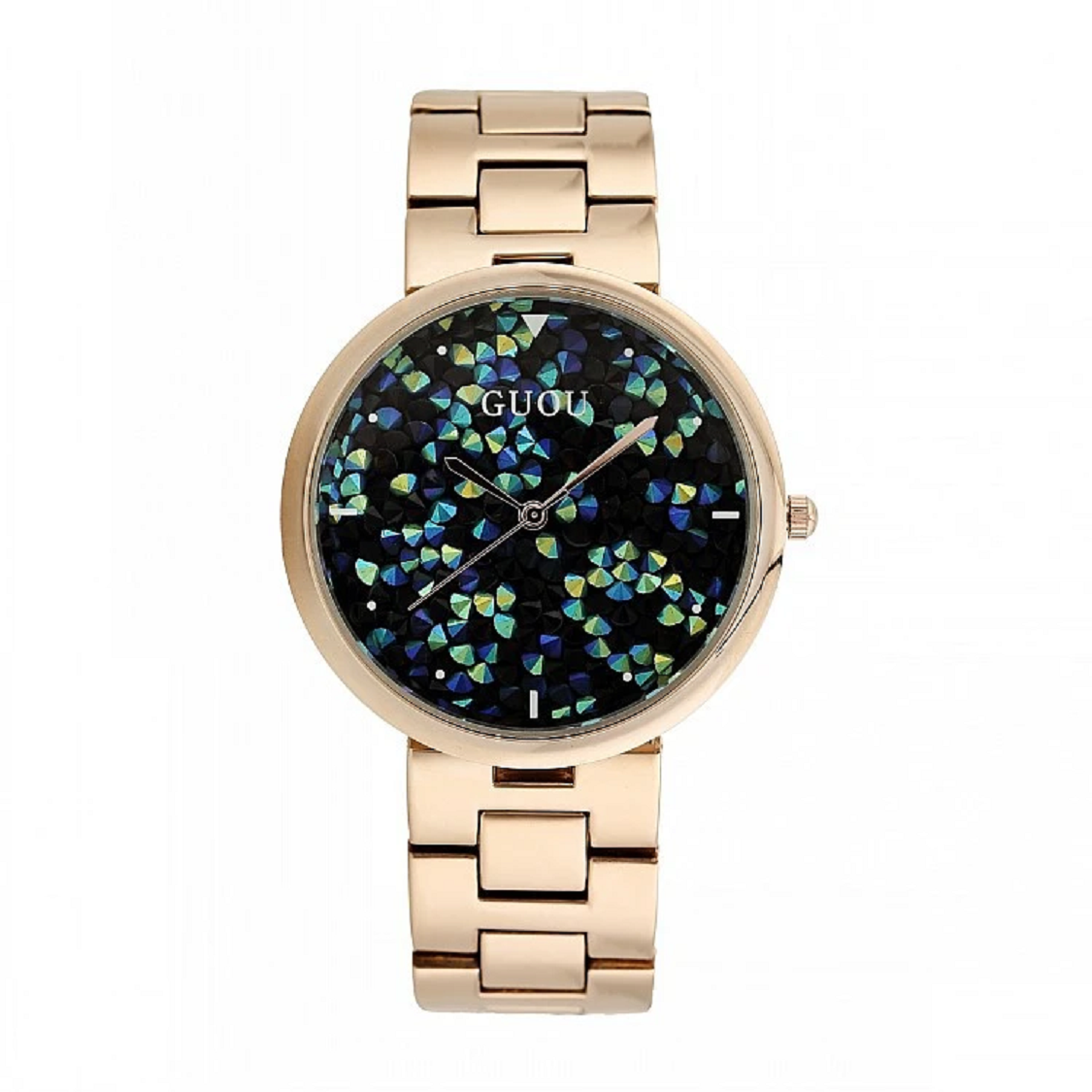 BEST WOMEN'S Bling WATCHES 2021 Rose Gold Starry Embellishment Dial Stainless Steel Strap Elegant Watch
