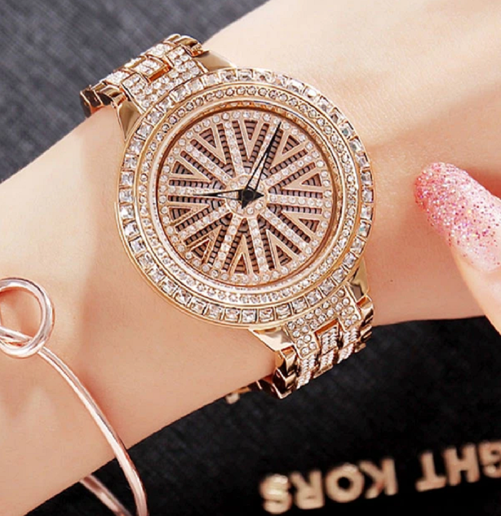 BEST WOMEN'S Bling WATCHES 2021 Glittering Rose Gold Metal Strap Round Dial Watch with Rhinestones