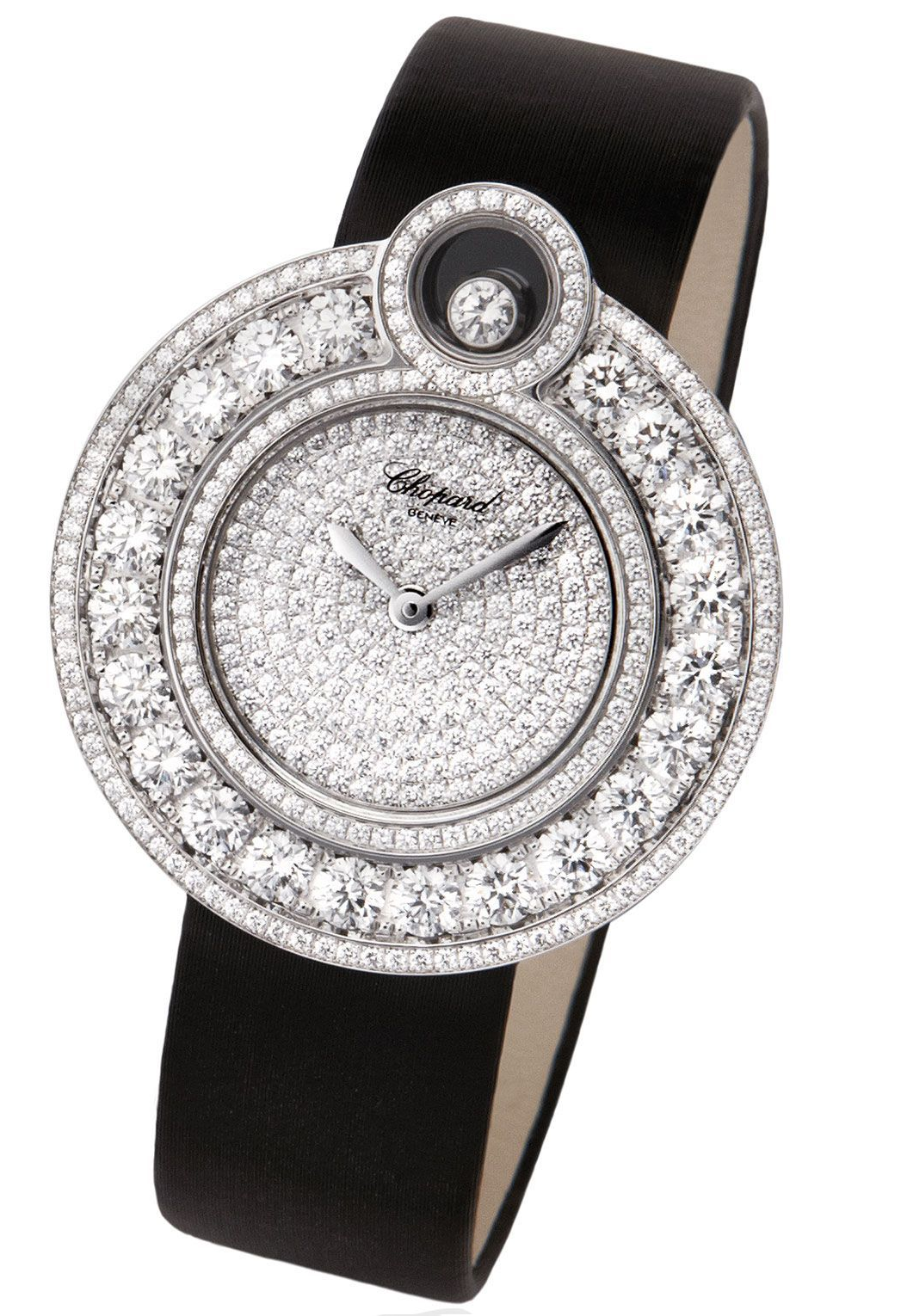 BEST WOMEN'S Bling WATCHES 2021 Beautiful Metal Round Watch with Diamond Hallo and Black Leather Strap