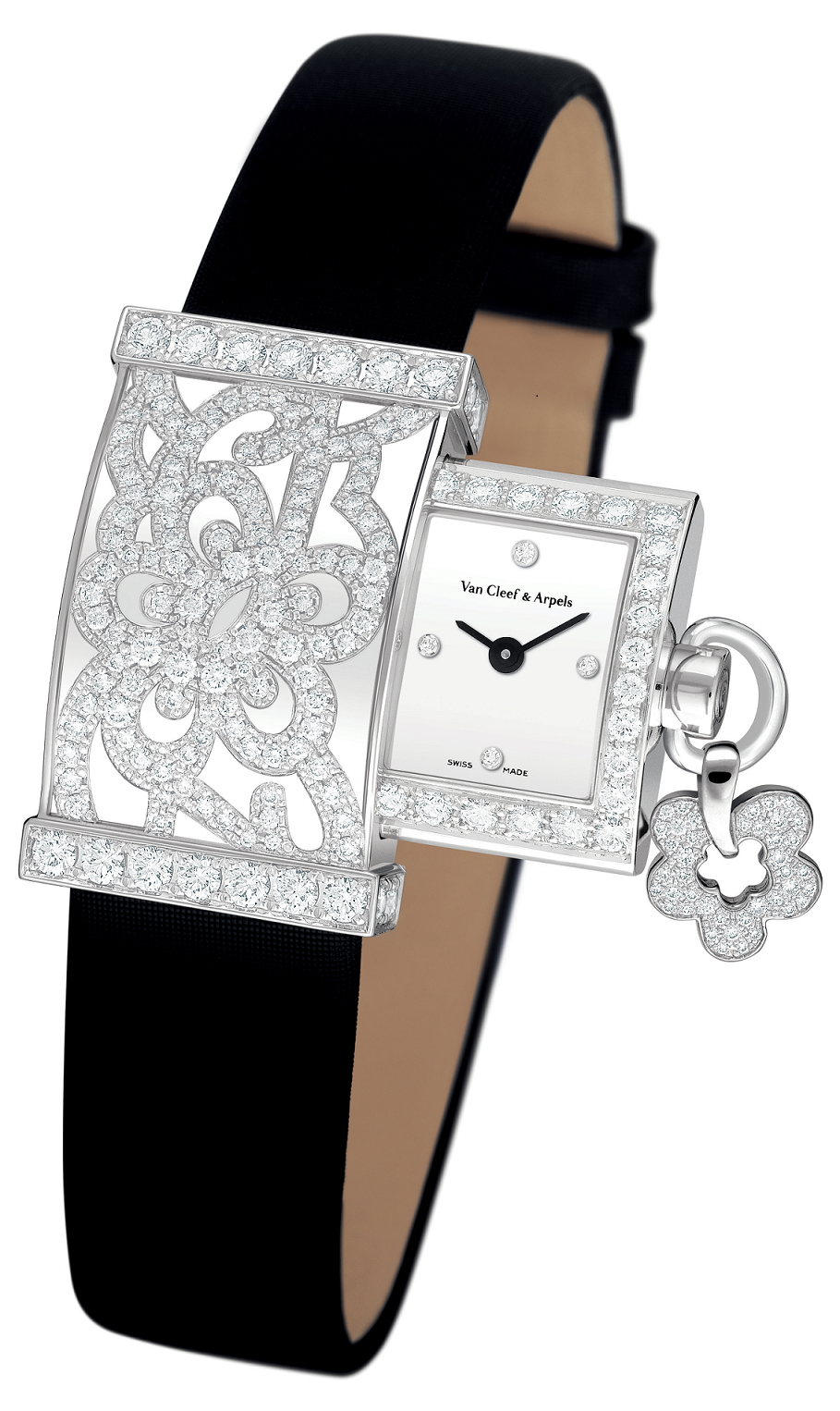 BEST WOMEN'S Bling WATCHES 2021 Rectangular Dial with Clear Rhinestones and Sliding Dial with Black Straps