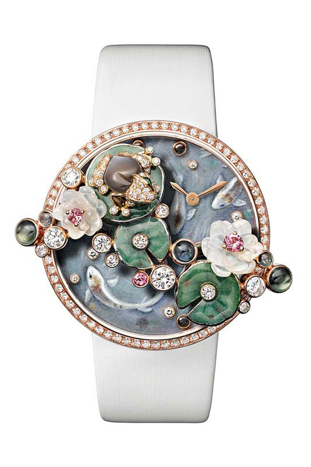 BEST WOMEN'S Bling WATCHES 2021 Cartier Fabuleux Frog Watch with Brooch Removed; Leaves In 18ct White Gold, Enamelled and Set with Brilliant-Cut Diamonds