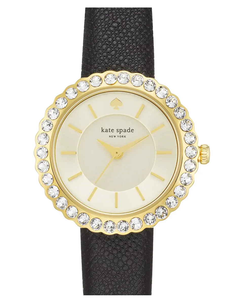 Kate Spade Gold Round Dial with Rhinestone Hallo with Black Fabric Strap