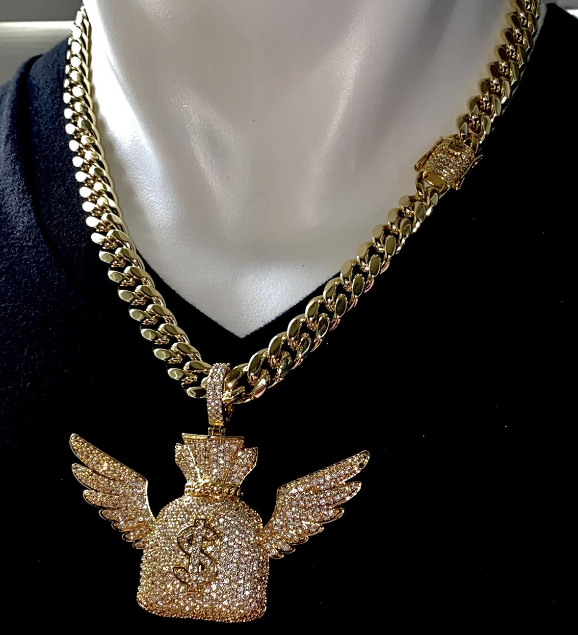 Best Hip Hop Bling 2021 14k Gold 5X Layered Iced Money Bag Pendant with Miami Cuban Chain Set