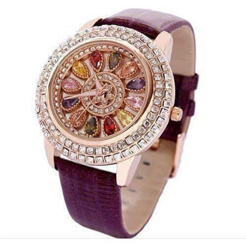 Wrist Watch Kaleidoscope Deluxe Crystal and Leather Watch