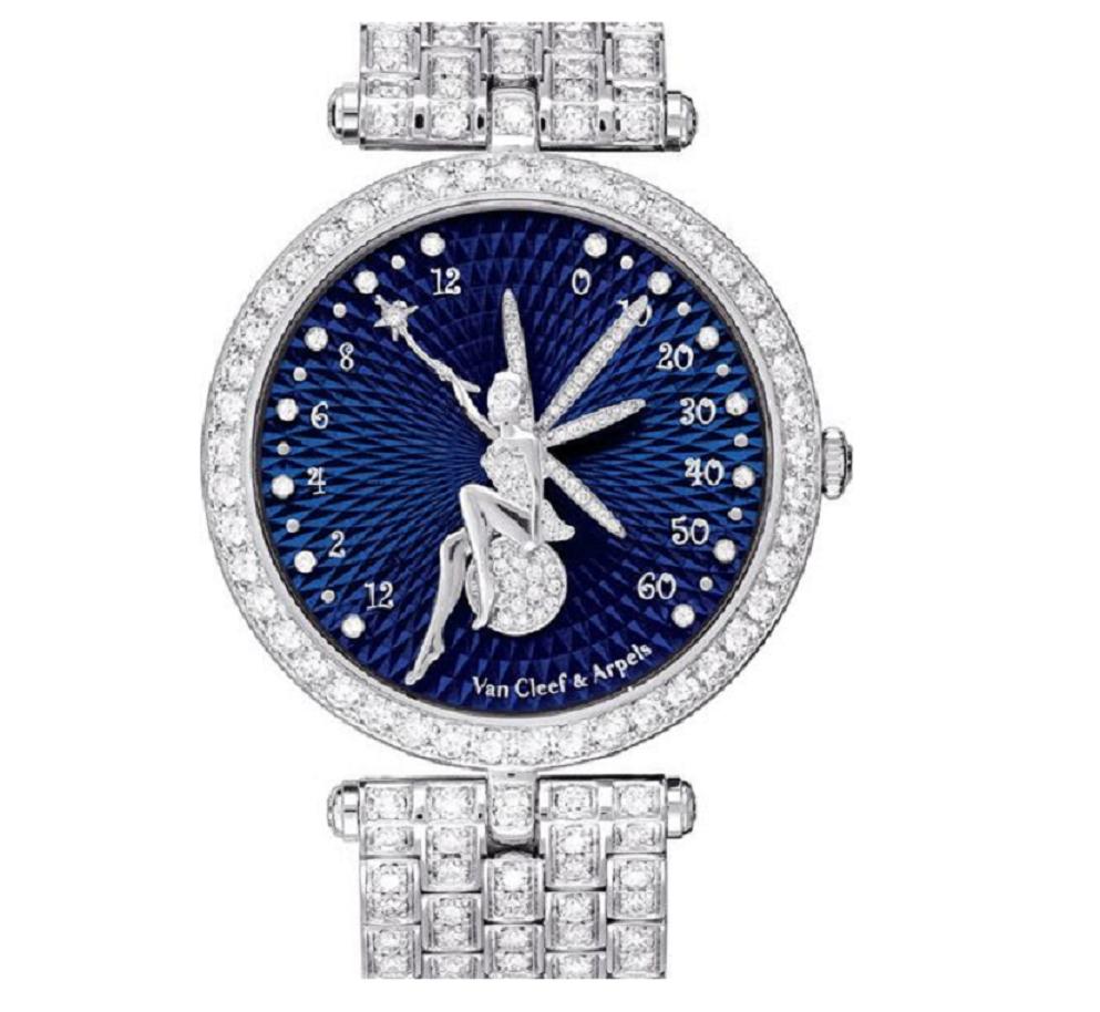 Silver Round Blue Dial Wrist Watch with Diamond Hallo and Bracelet Strap