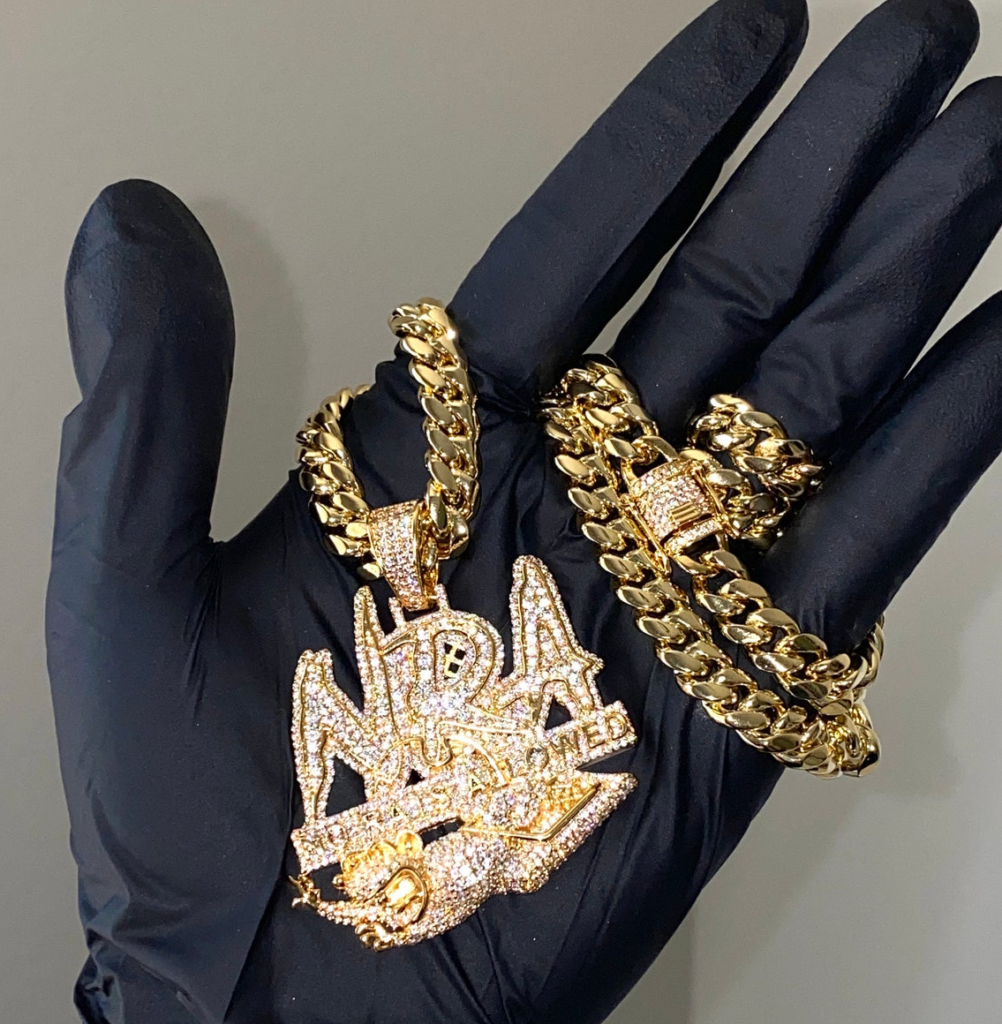 Best Hip Hop Bling 2021 14k Gold 5X Layered Iced No Rats Allowed Pendant with 14k Layered Stainless Steel 8mm Miami Cuban Chain