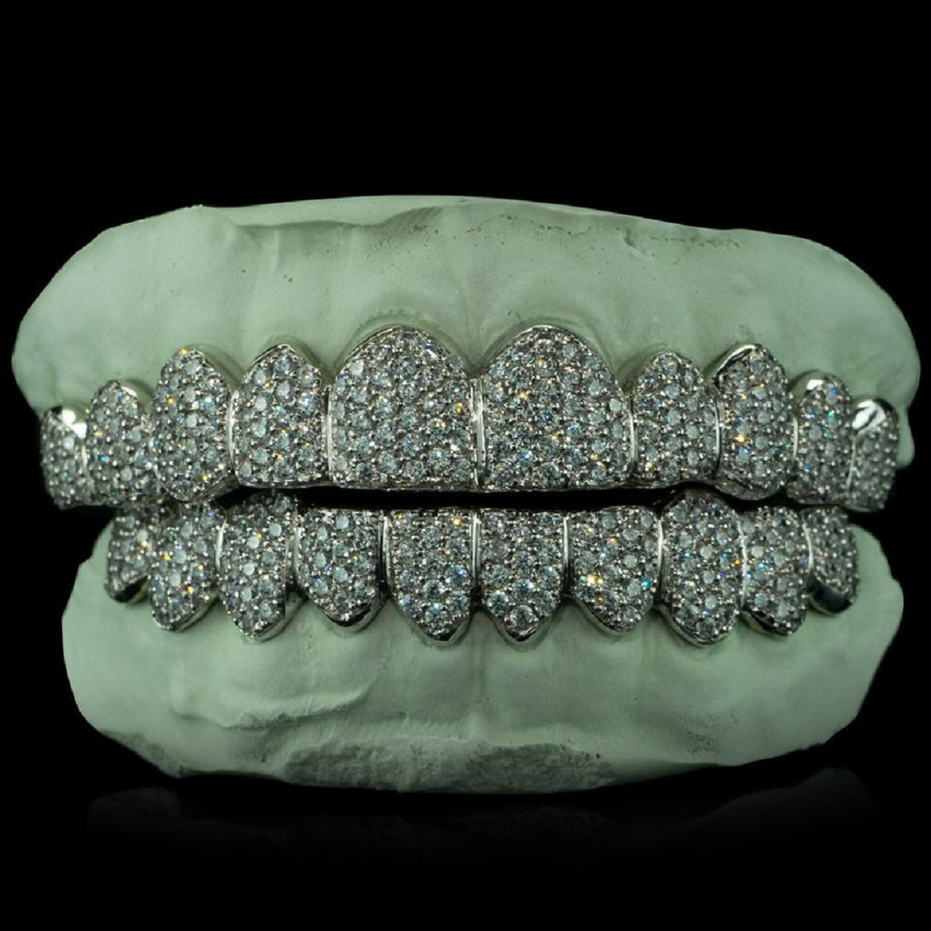 Best bling grillz 2021 Iced-Out All Teeth Glittering Grillz with Rhinestones