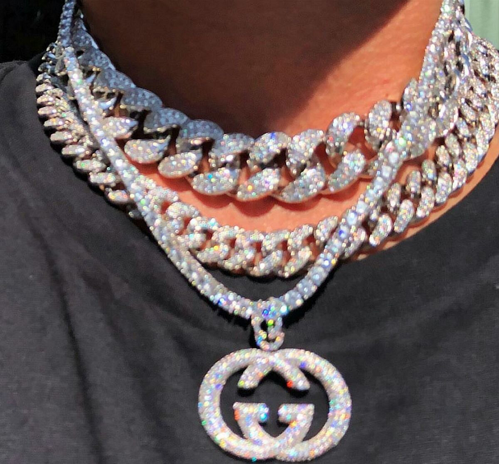 Best Hip Hop Bling 2021 Elegant Link Chains with Rhinestones with A Double G Pendant