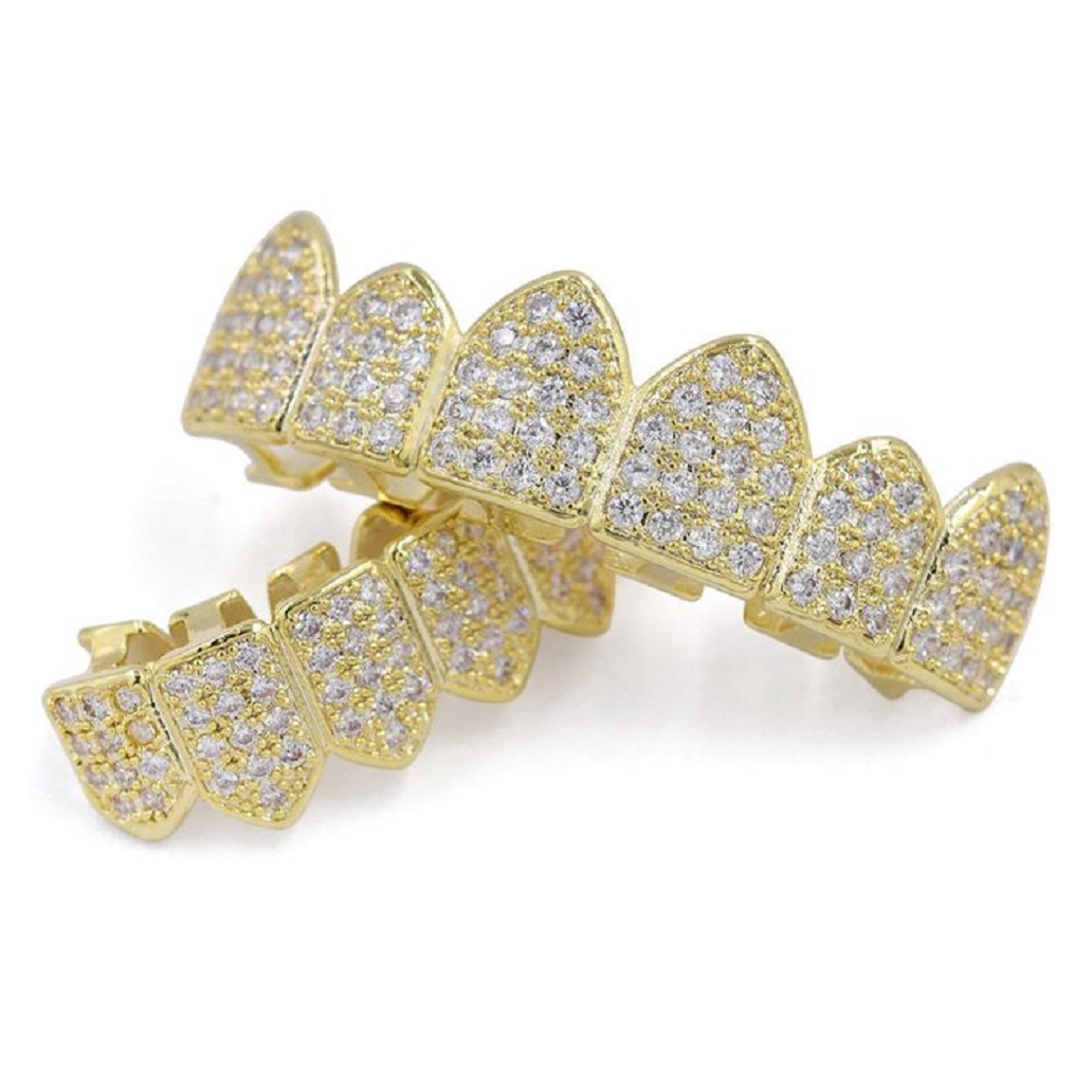 Best bling grillz 2021 Beautiful Iced Out Gold Grillz Teeth with CZ Diamonds with Fang