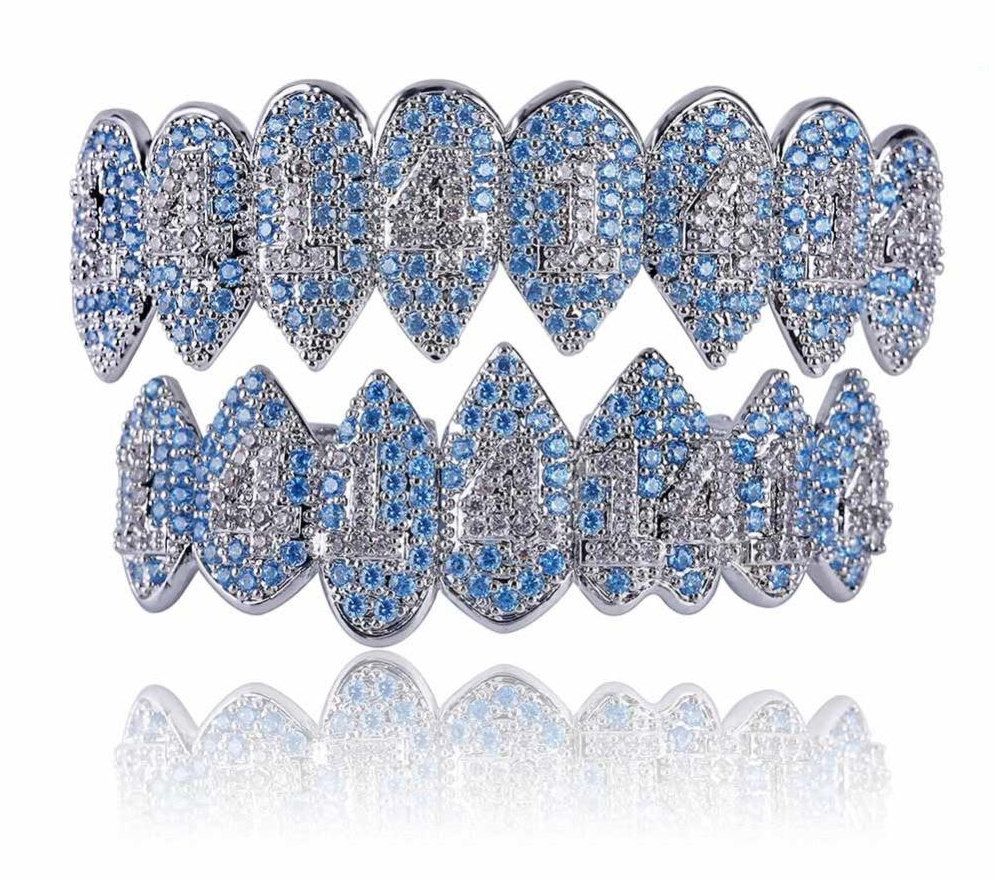 Best bling grillz 2021 Silver Color Iced Out Blue Diamonds Grillz Crystal Jewelry Top & Bottom