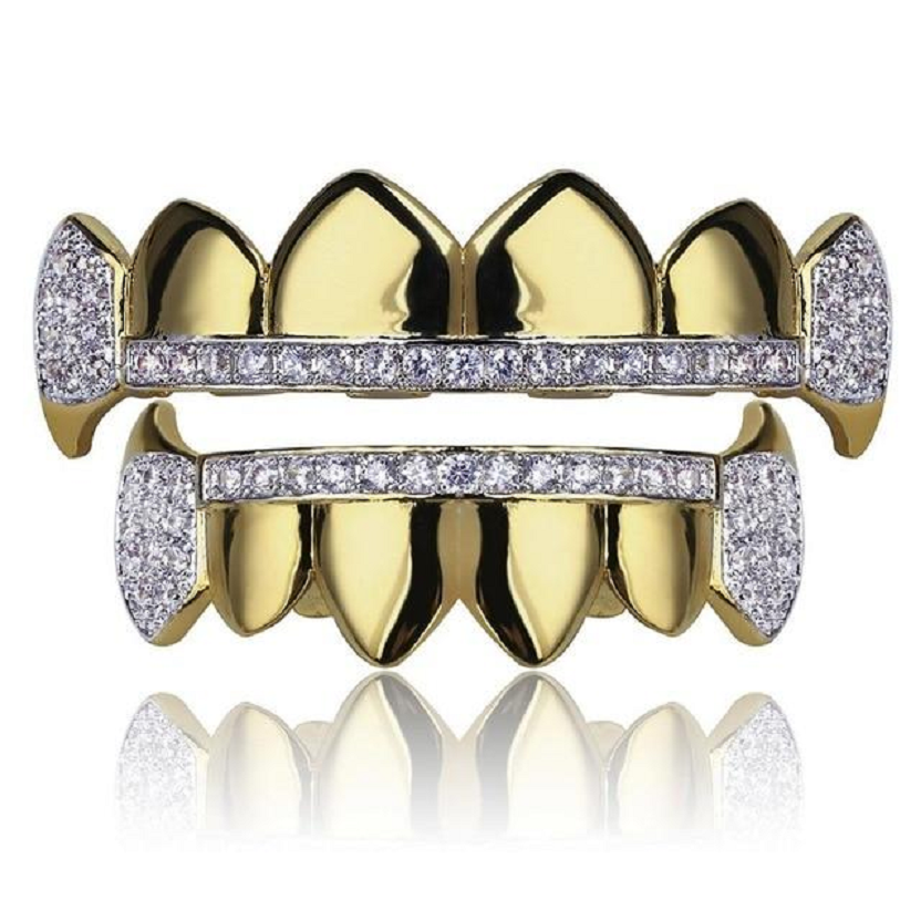 Micro Pave Cubic Zirconia Grillz Tips and Vampire Fangs