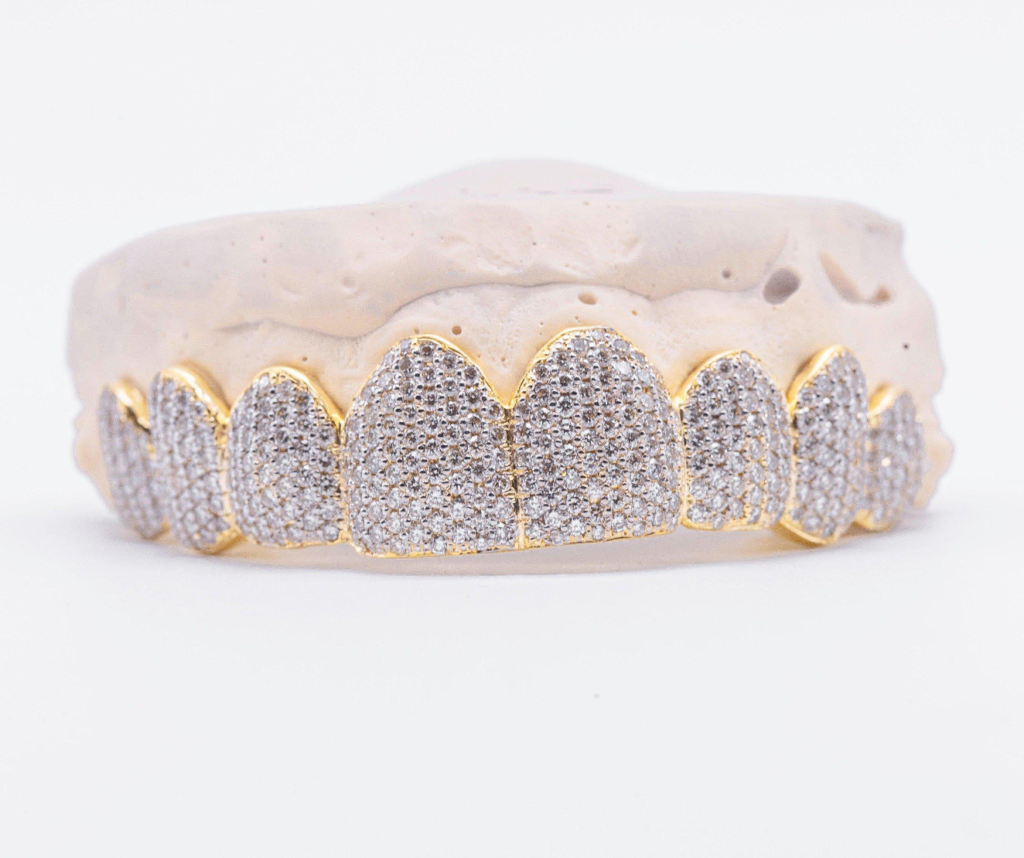 The Snow Cone - Yellow Gold with Diamond Sparkling Grillz
