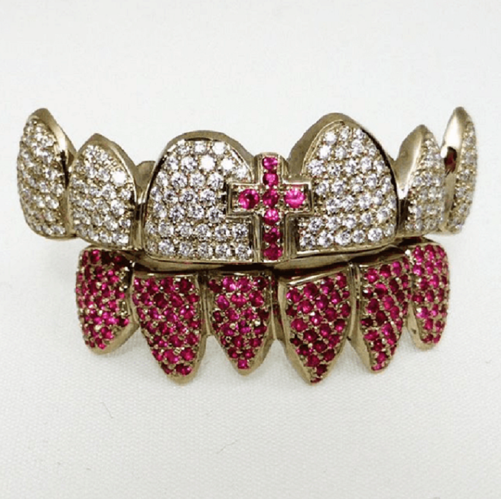 All Gold Teeth Blinged-Out Grillz with Silver and Purple Rhinestones and Cross In Front