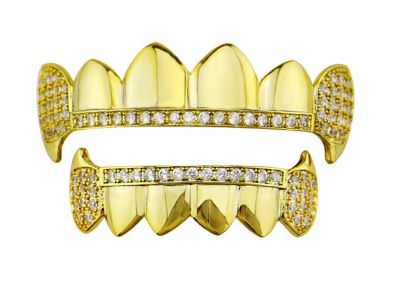 Gold Plated ICED Out Cruz Diamonds Teeth Grillz Top and Bottom